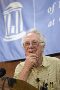 Dr. Oliver Smithies smiles as he takes questions at a press conference at The University of North Carolina at Chapel Hill about his winning the Nobel Prize in medicine.